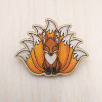 nine tailed fox wooden pin magnet badge brooch