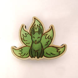 Very sly five-tailed fox | pin | magnet by ShadowOfLightt
