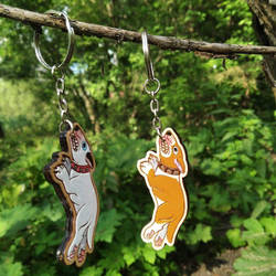 Bull terriers that hang in there | wooden keychain by ShadowOfLightt