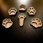 uncolored paws wooden pins, keychains, magnets by ShadowOfLightt