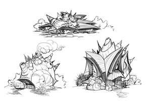 Sacred Seasons 2 Shell Houses by frogbillgo