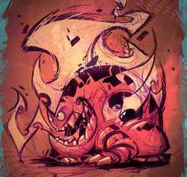 Fire Monster Sketch by frogbillgo