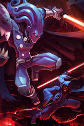 Glyph and Darth Maul Crossover Commission by frogbillgo