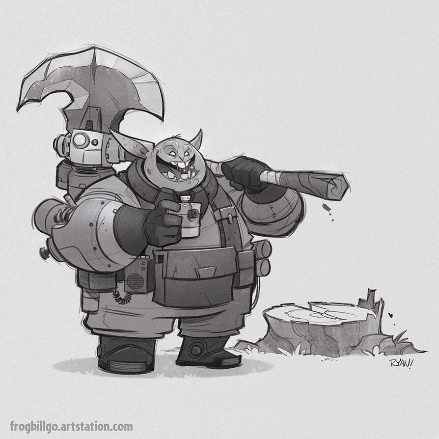 Goblin Lumberjack by frogbillgo