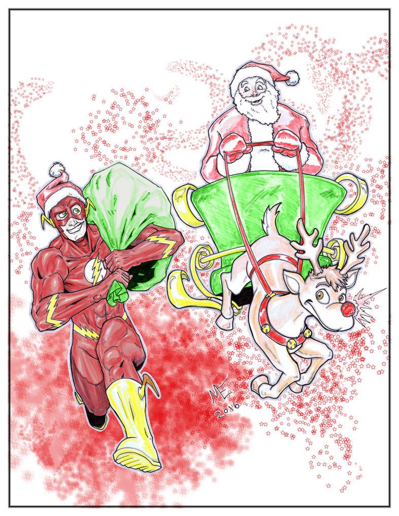 Santa vs The Flash by erkhart