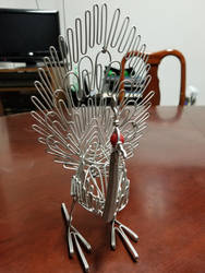 A metal peacock