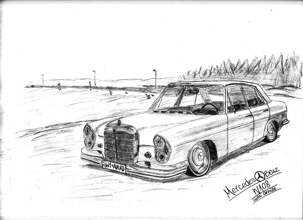 mercedes benz w108 with ariride drawing by hary1908 on