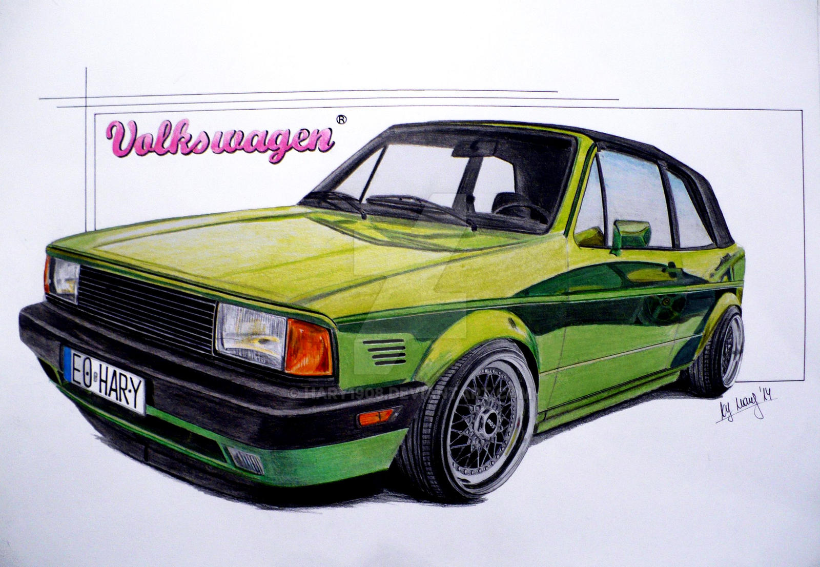 vw golf rabbit cabrio drawing by hary1908 on deviantart