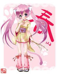 Haru Nyanko - Spring Catgirl by tickledpinky