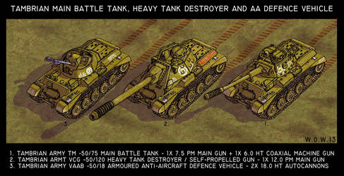 Tambrian MBT, heavy TD and armoured AA vehicle
