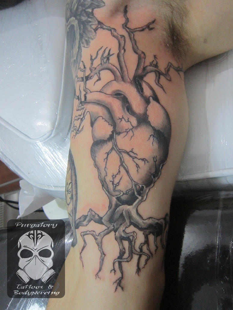 Heart with roots custom tattoo by EdgarValerio
