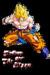 Dragon Ball Z Goku SSJ Render The Black by OneBill