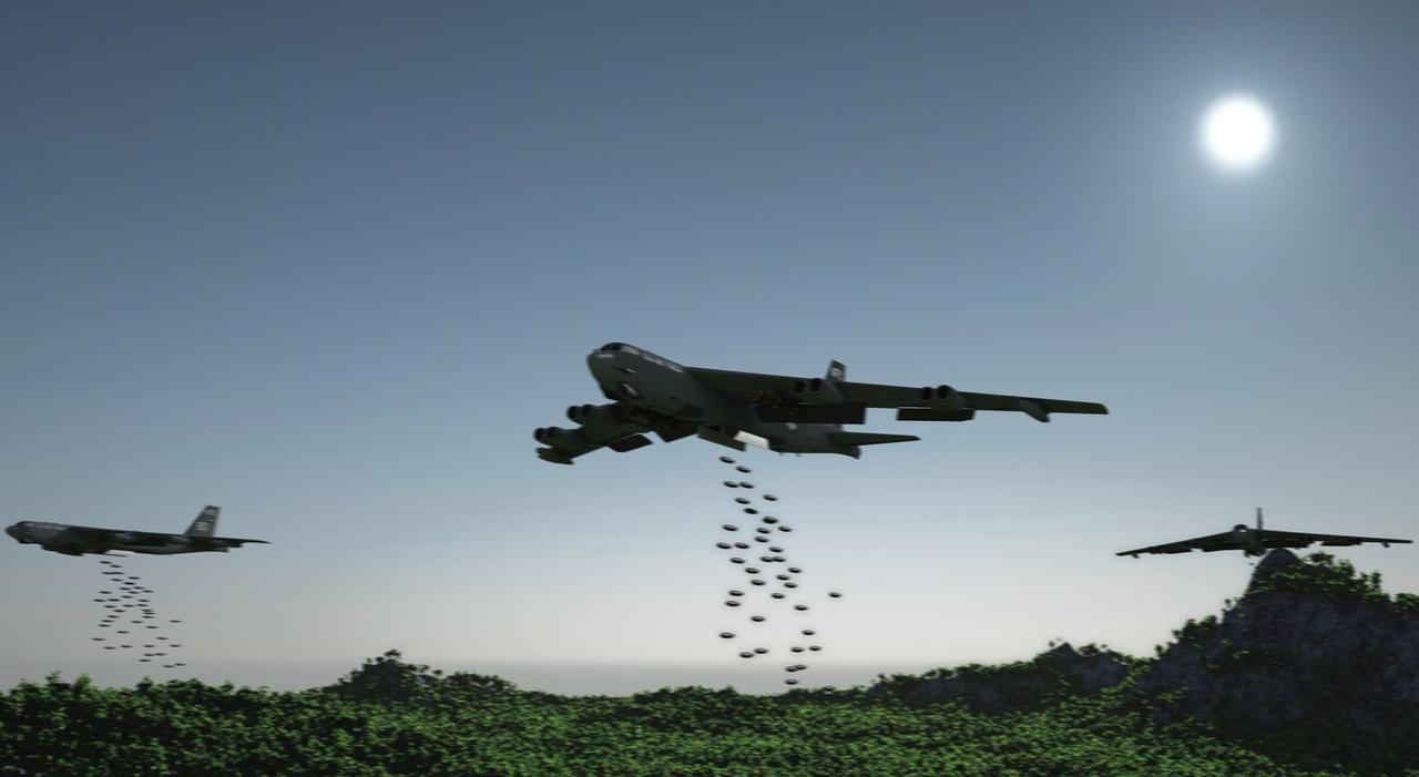 Carpet Bombing by  B 52 Stratofortress Carpet Bombing