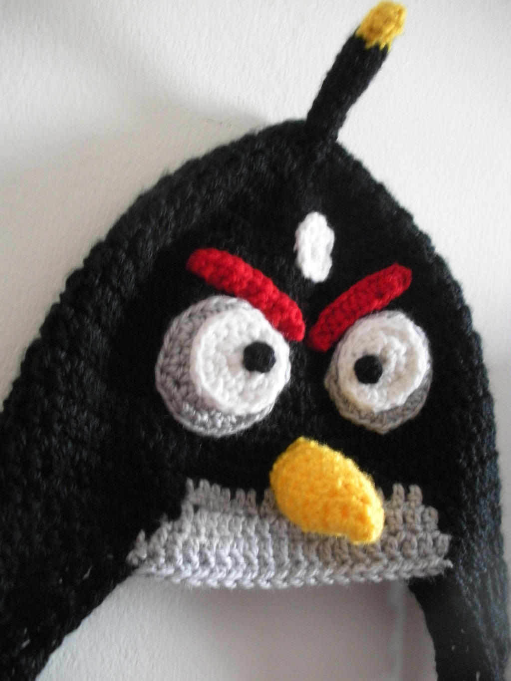 Crochet Hat Pattern Angry Bird : Angry Birds Hat - Black Bird Hat by melibusla on DeviantArt