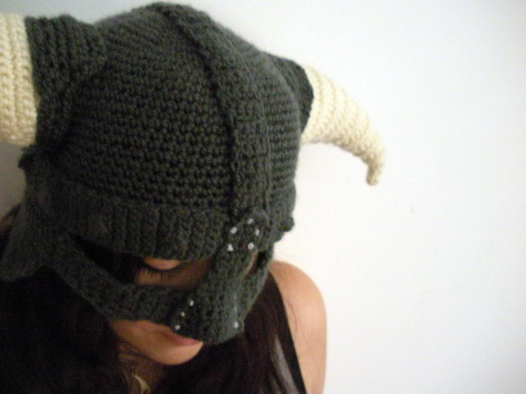 So I crocheted a Skyrim Helmet by melibusla on DeviantArt