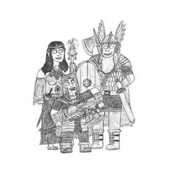 Gift art: 3 friends in Tolkien-like fantasy style by Dwarf-Cartoonist