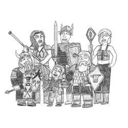 Baldur's Gate 1 fanart - My party of adventurers by Dwarf-Cartoonist