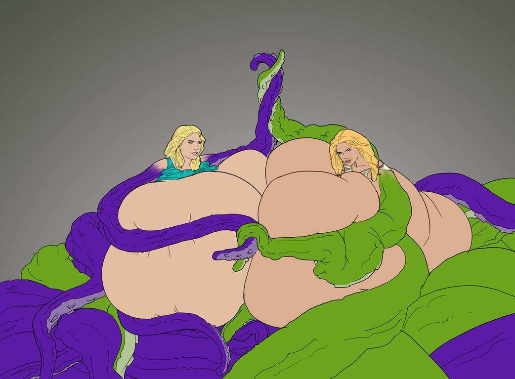 Scarlett Johansson and Kate Upton tentacle fight by tsarman