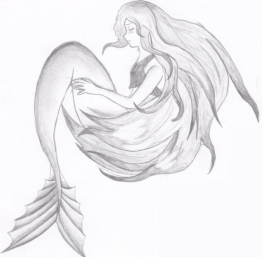 how to draw a mermaid swimming sketch