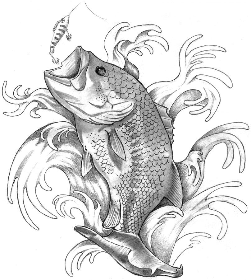 bass fishing tattoo by elguapo6 on deviantart. Black Bedroom Furniture Sets. Home Design Ideas