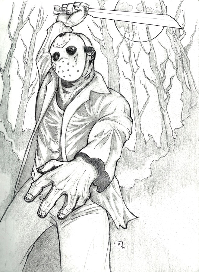 Happy Friday the 13th - pencil by elguapo6 on DeviantArt Jason Friday The 13th Drawings