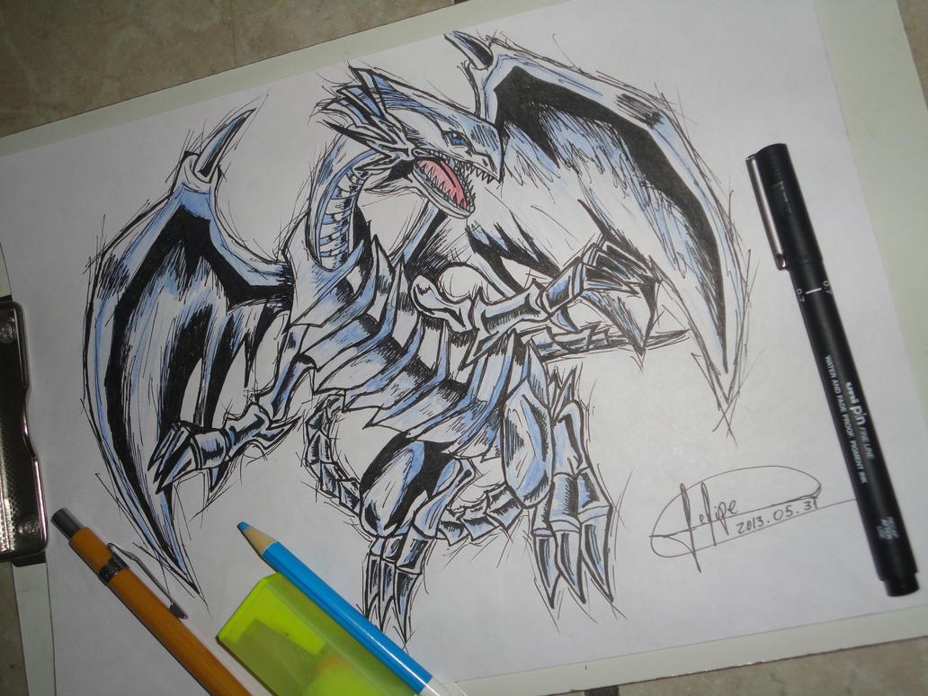 blue eyes white dragon yu gi oh by felipedsx by felipedsx on
