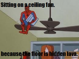 Spiderman and the ceiling fan by Darkraimare