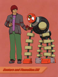 Kentaro and FlameMan.EXE by DragonMarquise