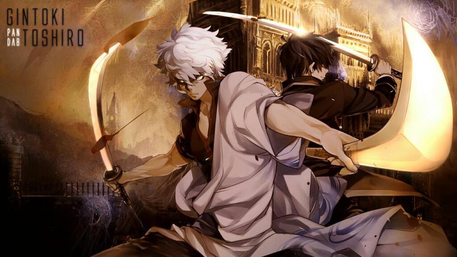 Gintoki Toshiro battle by mikaelays