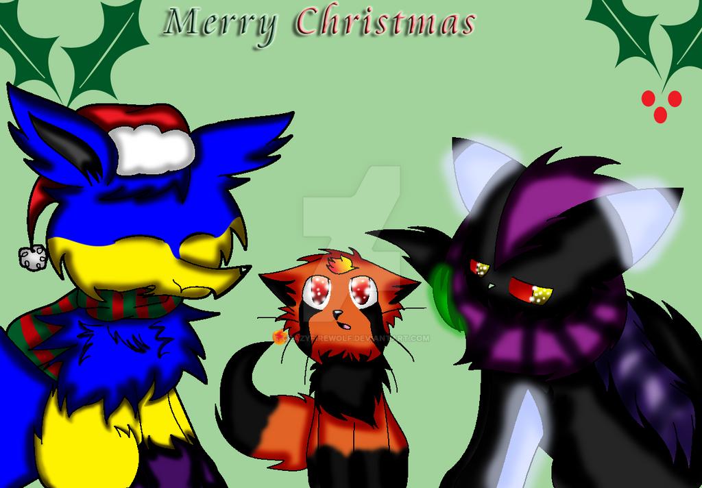 Shocker, Ash, and Zoureon Merry Christmas by crazyfirewolf