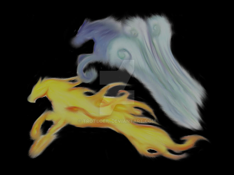 Elemental Horses Computer One by TexacoPokerKitty