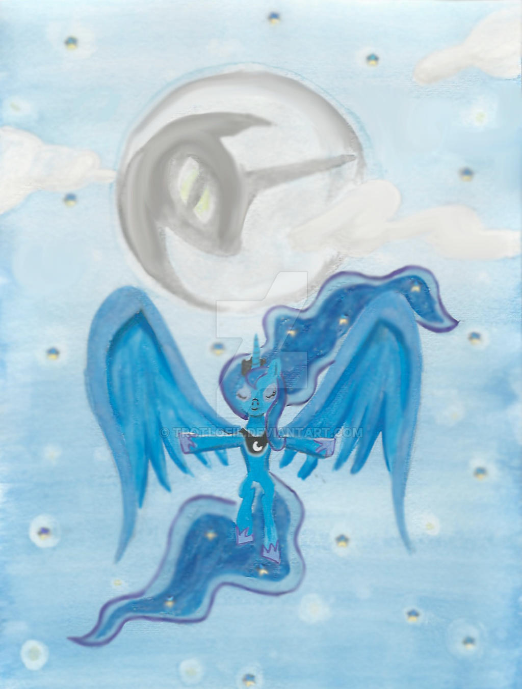 Princess Luna Guards the Night by TexacoPokerKitty
