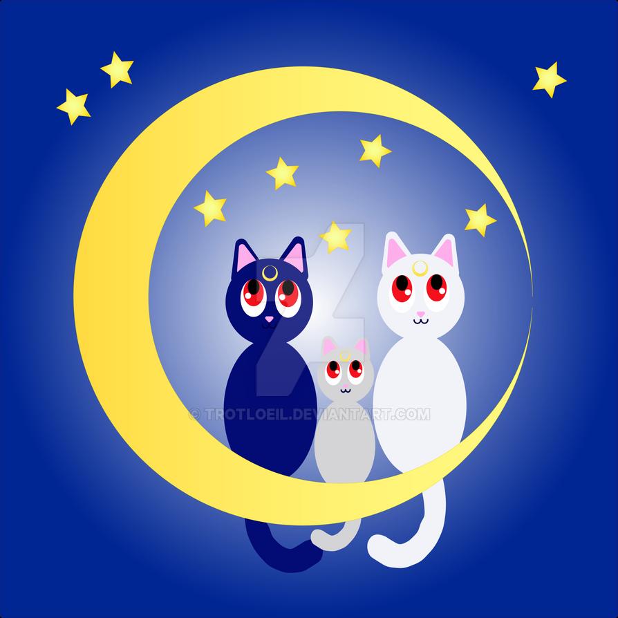 Moon Kitties by TexacoPokerKitty