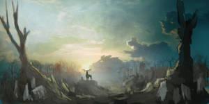 Graveyard stag scene