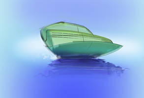 Green boat by Theclockworkpainter