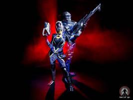 Garrus and Tali cosplay lightpainting