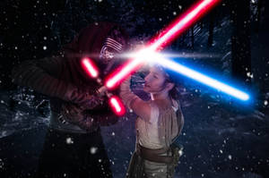 Kylo Ren vs Rey by Nebulaluben