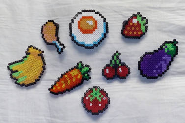 Food magnets in Hama beads by Byakko92