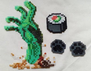 Hand Zombie, sushi and neko paws in Hama beads by Byakko92