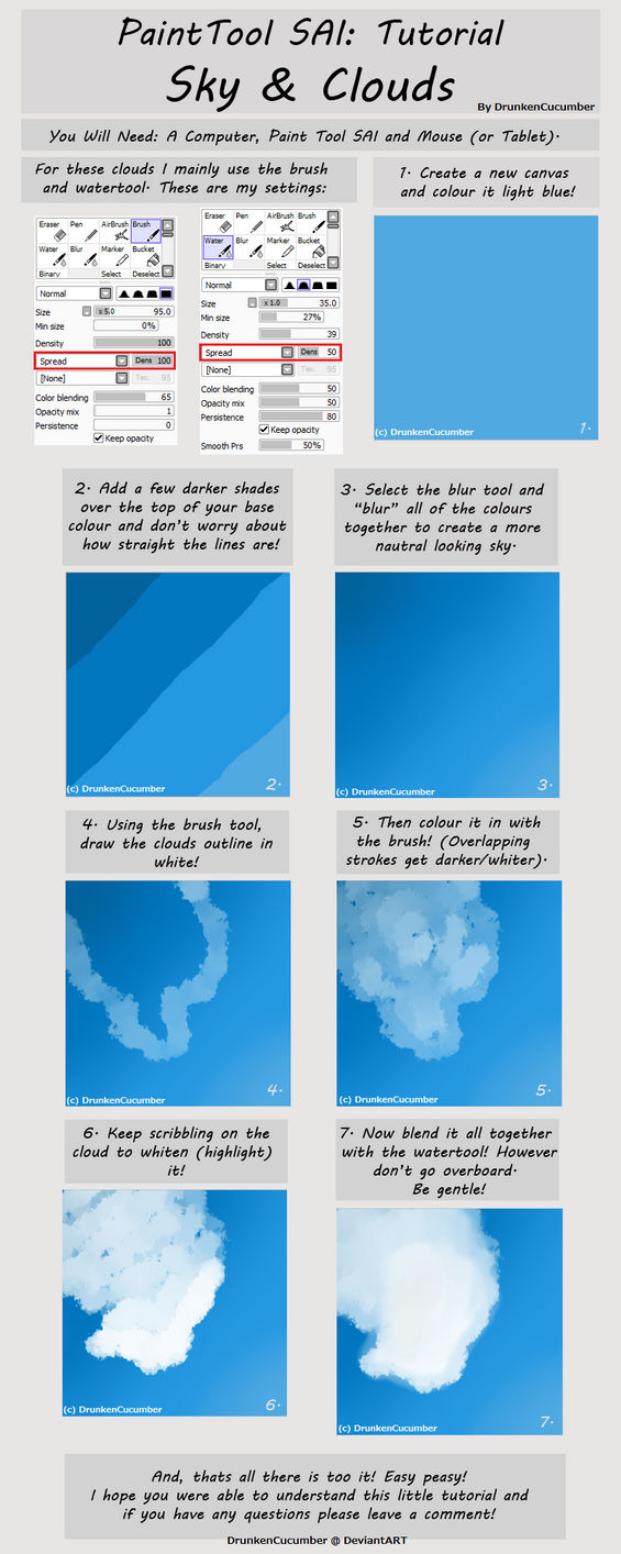 Paint Tool Sai: Cloud Tutorial by DrunkenCucumber