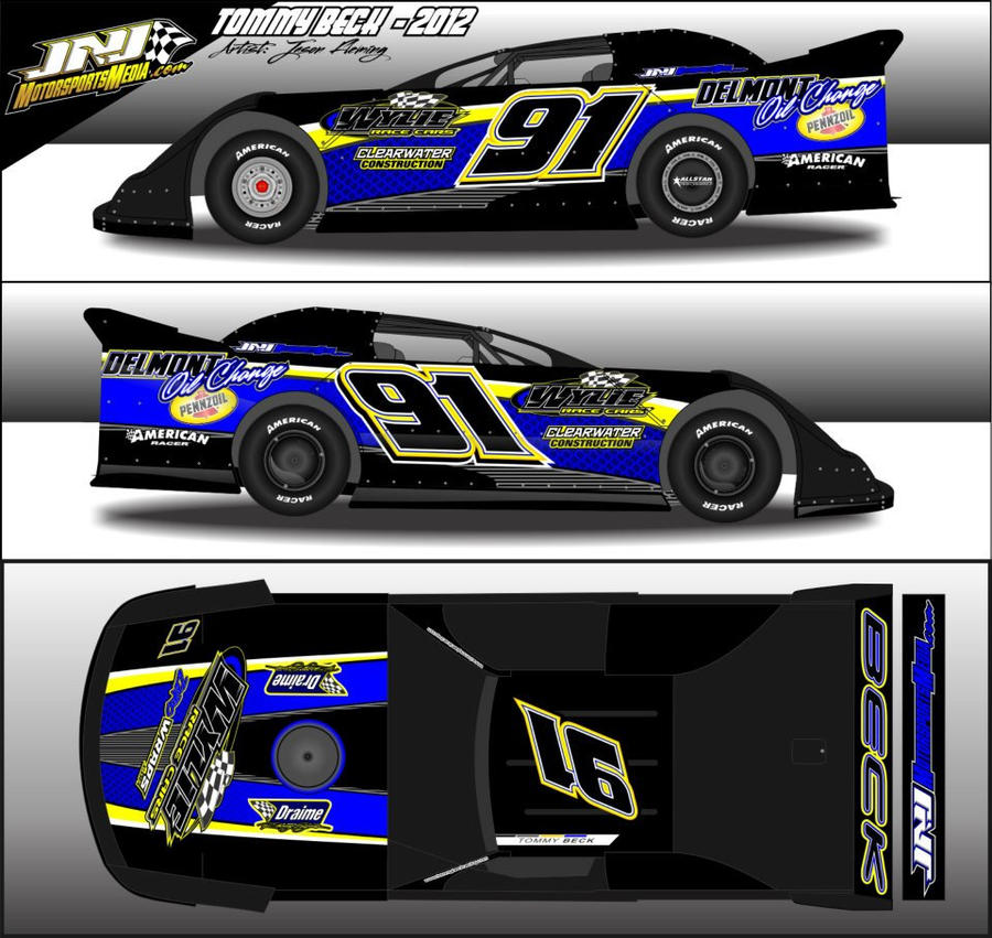 race car graphic design templates - 2012 tommy beck dirt late model wrap by 54warrior on