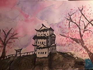 Japanese Castle on a Hill by greenwolfaria