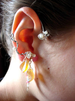 Elven ear cuffs with glass leaves and flowers