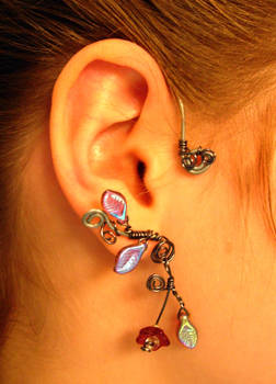 Set of ear cuffs hematite wire flowers and leaves