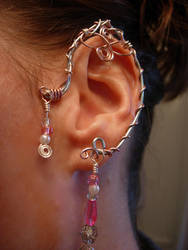 Pair of Elf Ear Cuffs, with pink accents by jhammerberg