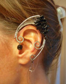 Black Jasper and Silver Elf Ear Wraps, Elven Ears