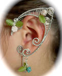 Elf Ear Wraps, Silver with Glass leaves and Flower