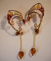 Autumn Inspired Genuine Amber Elf Ear Wraps