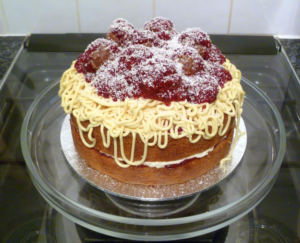 Spaghetti and Meatballs Cake by Rebeckington on DeviantArt