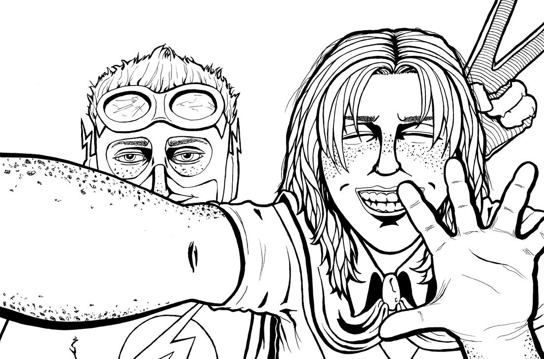 Young Justice Selfie (LINES) by Broken-Endings